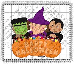 1/4 Sheet - Happy Halloween - Edible Image Cake/Cupcake Party Topper!!! - $8.50