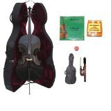 Lucky Gifts 3/4 Size BLACK Cello,Hard Case,Soft Bag,Bow,2Sets of Strings,Tuner