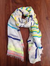 Gap Women Scarf Rainbow Asymmetric Striped Fringe Raw Hem Light Weight W... - $24.99