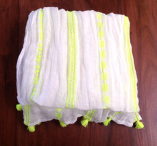 Gap Women Scarf Neon Green White Embroidered Ge... - $24.99