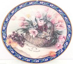 Parrot Tulips Collector Plate Lena Liu Basket Bouquets Floral Retired Vi... - $59.95