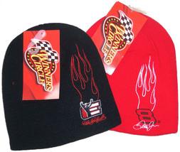 Dale Earnhardt Jr Sr Ski Hat Beanie Cap Winner's Circle Red Black New - $16.95