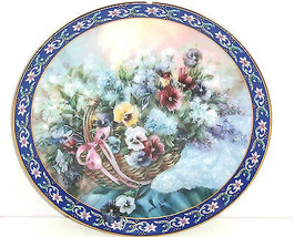 Pansies Collector Plate Lena Liu Basket Bouquets Flower Floral Retired V... - $59.95