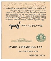 Sc UY7 Park Chemical Co 1932 Parko Advertising Preprinted Paid Reply Postal Card - $6.69
