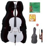 Lucky Gifts 3/4 Size WHITE Cello,Hard Case,Soft Bag,Bow,2 Sets of Strings,Tuner