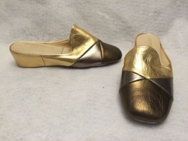 Lamo OOMPHIES Laurie Metallic Leather Gold Wedge Slip On Mules Slippers ... - £26.35 GBP