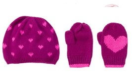 NEW Gymboree 12-24 Bundled and Bright Heart Print Sweater Hat Mittens NWT - $11.29