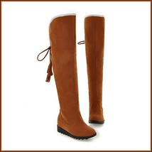 Suede Over The Knee Flat Sole Leather Boots w/ Lace Up Tassel and Fleece Lining image 2