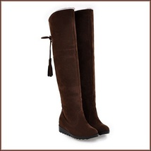 Suede Over The Knee Flat Sole Leather Boots w/ Lace Up Tassel and Fleece Lining image 4