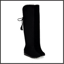 Suede Over The Knee Flat Sole Leather Boots w/ Lace Up Tassel and Fleece Lining image 5