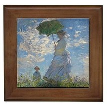 Claude Monet Woman With a Parasol Framed Tile Wall Picture - $9.39