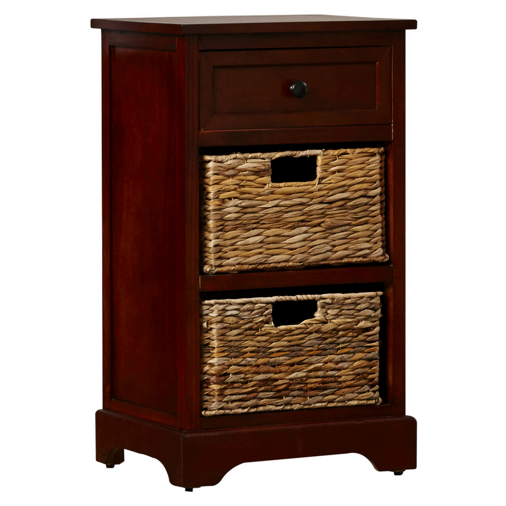 Storage end table drawer 2 baskets wooden nightstand for Dark wood furniture