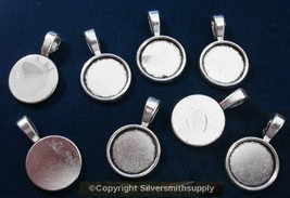 8 Bezel cup tray settings Silver plt holds 14mm cabochon bailed pendants... - $2.51