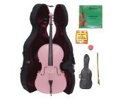 Crystalcello 1/2 Size PINK Cello,Hard Case,Soft Bag,Bow,2Sets of Strings,Tuner