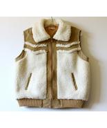 Sherpa Leather Vest Sheepskin Vintage Tan Brown... - $25.00
