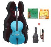 Lucky Gifts 3/4 Size BLUE Cello,Hard Case,Soft Bag,Bow,2Sets of Strings,Tuner