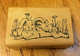 Bunny Rabbits Rubber Stamp Floppy Ears Darling Cuddle Pair Grass Comotion Rare - $35.62