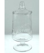 Vintage Dale Moore wheel cut clear glass candy ... - $22.00