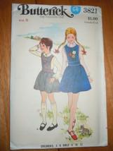 Vintage Butterick Children's & Girls Size 6 Jumper Pattern #3821 Uncut - $8.99