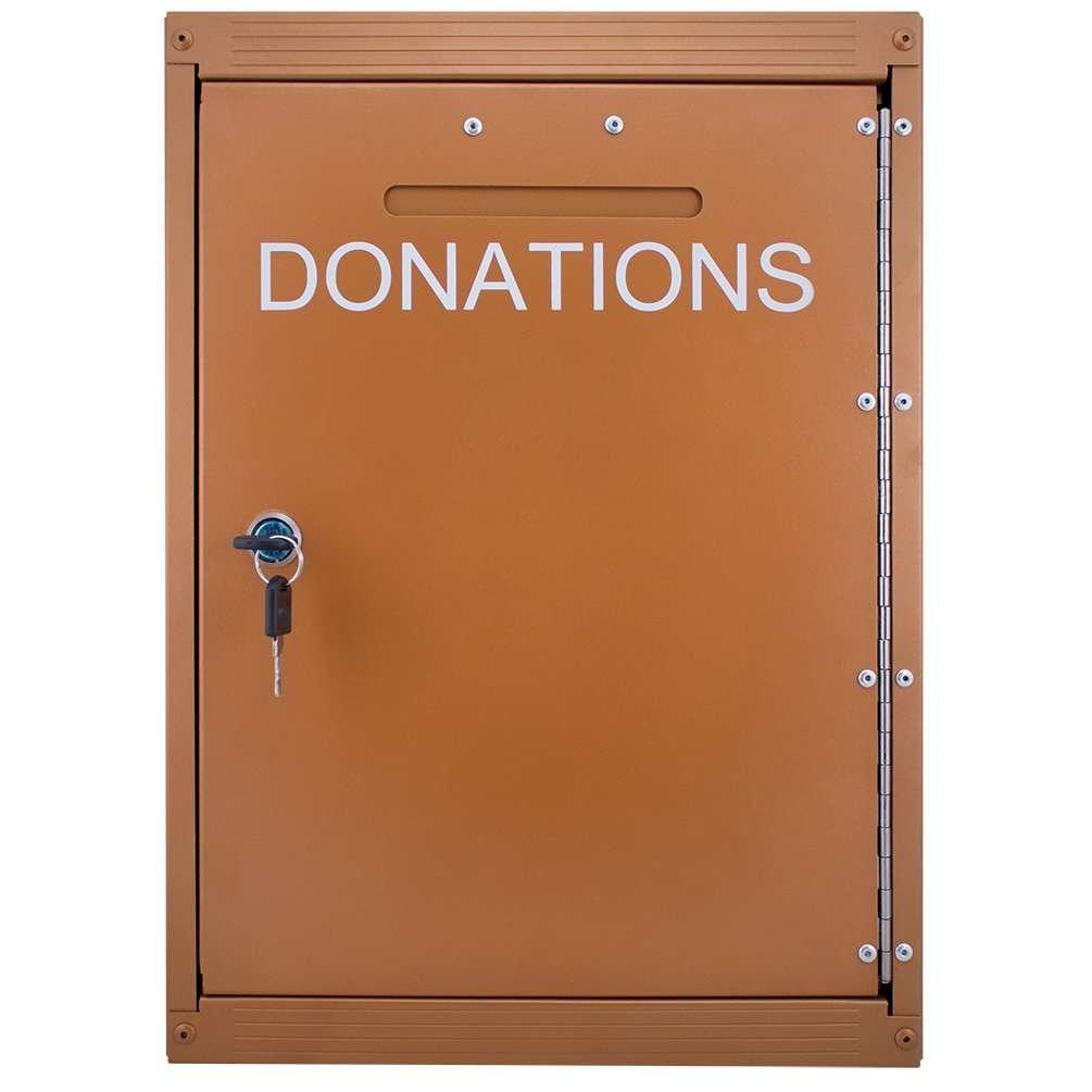 Outdoor Locking Metal Aluminum Donation Box with Rain Flap