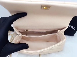 100% AUTHENTIC CHANEL 2017 CAVIAR QUILTED MINI COCO HANDLE FLAP BAG BEIGE GHW image 6
