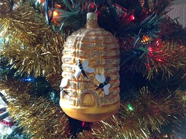 Blown glass Bee Hive Bee Skep  hand painted ornament made in Germany image 2