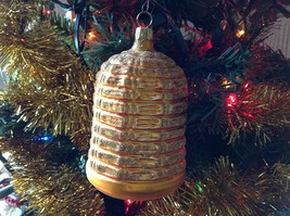 Blown glass Bee Hive Bee Skep  hand painted ornament made in Germany image 3
