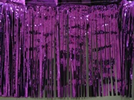 "Metallic purple Fringed table skirt Party decor  29"" x 14 ft - $9.84"