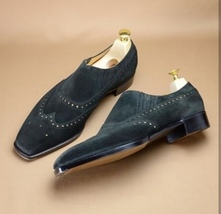 Handmade Men's Black Suede Wing Tip Brogues Style Dress/Formal Shoes image 3