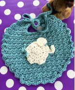 Baby's Handmade Crocheted Dribble Bib in Blue with Baby Elephant Applique - $10.00