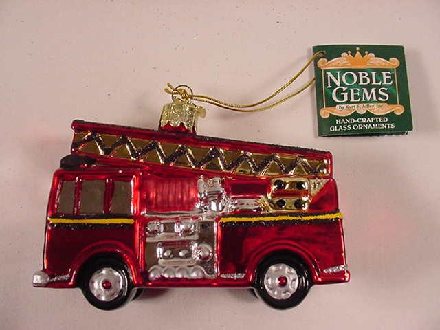 Kurt Adler C4492 Fire Truck Engine Glass Christmas Ornament New