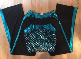 A Wish Come True Teal & Black Unitard - M - Pageant! Dance Fresh Top Pan... - $22.28