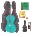 Lucky Gifts 3/4 Size GREEN Cello,Hard Case,Soft Bag,Bow,2Sets of Strings,Tuner