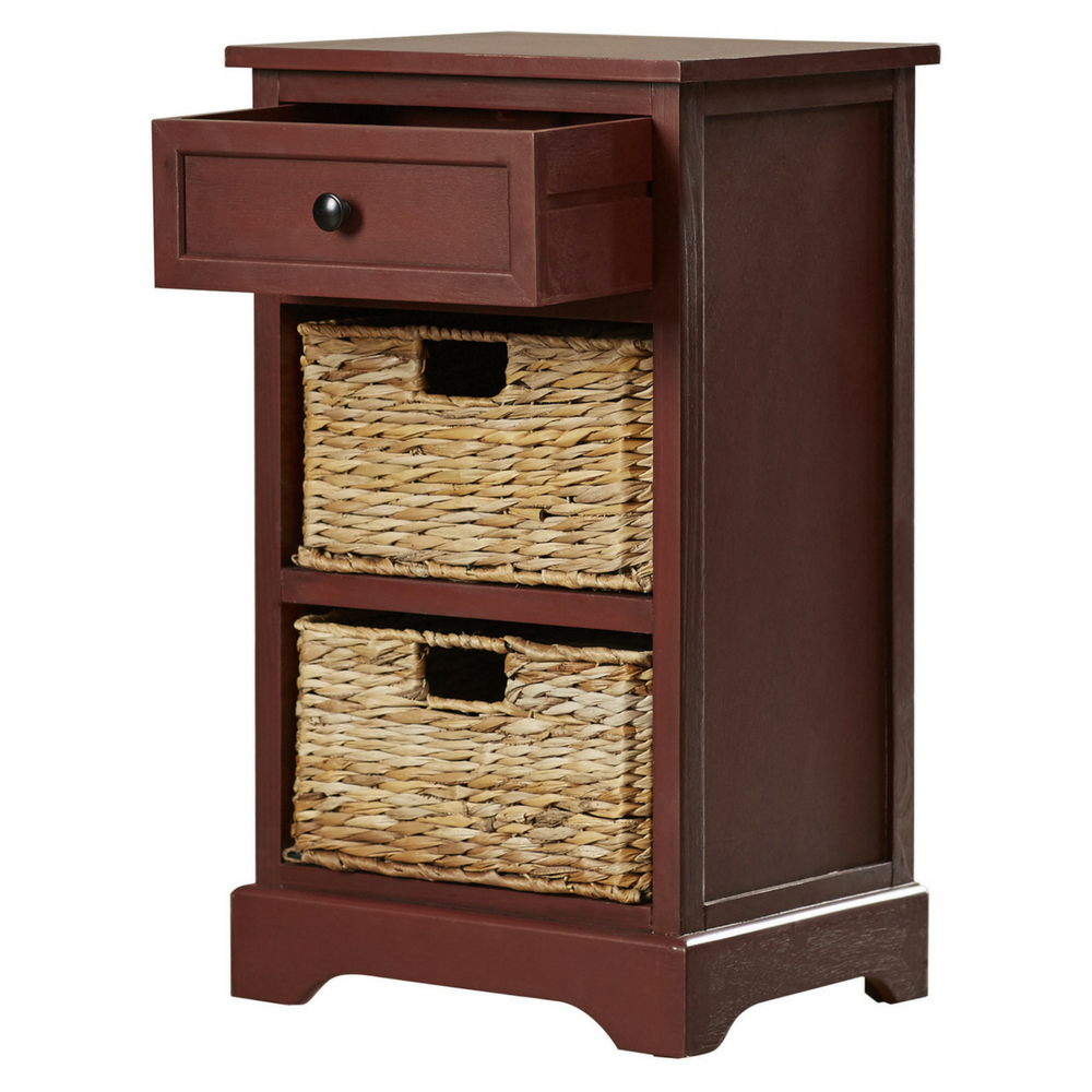 Storage end table drawer 2 baskets wooden nightstand for End tables with drawers