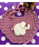 Baby's Handmade Crocheted Dribble Bib in Pink with Baby Elephant Applique - $10.00