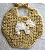 Baby's Handmade Crocheted Dribble Bib in Yellow with Puppy Dog Applique - $10.00