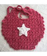 Baby's Handmade Crocheted Dribble Bib in Dark Pink with Star Applique - $10.00