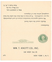 Preprinted Paid Reply Postal Card Sc UY7 Wm T Knott Co NY Order Cancella... - $4.99