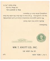 Preprinted Paid Reply Postal Card Sc UY7 Wm T Knott Co NY Order Cancella... - $4.99