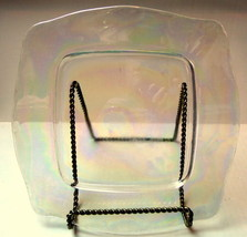 Clear Glass Square Dinner Plates Iridescent Glow - $11.50