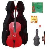 Lucky Gifts 3/4 Size RED Cello,Hard Case,Soft Bag,Bow,2Sets of Strings,Tuner