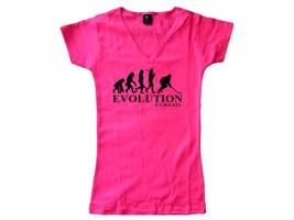 Ice Hockey evolution evolve funny pink slim fitted v neck women female t... - $13.99
