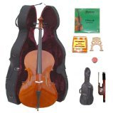 Lucky Gifts 1/4 Size Student Cello,Hard Case,Soft Bag,Bow,Strings,Tuner,2Bridges