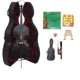 Lucky Gifts 3/4 Size BLACK Cello,Hard Case,Soft Bag,Bow,Strings,Tuner,2Bridges