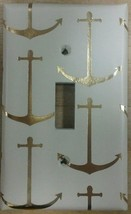 Gold & Cream Anchor Light Switch Cover decor bathroom nautical sailor bo... - $7.75