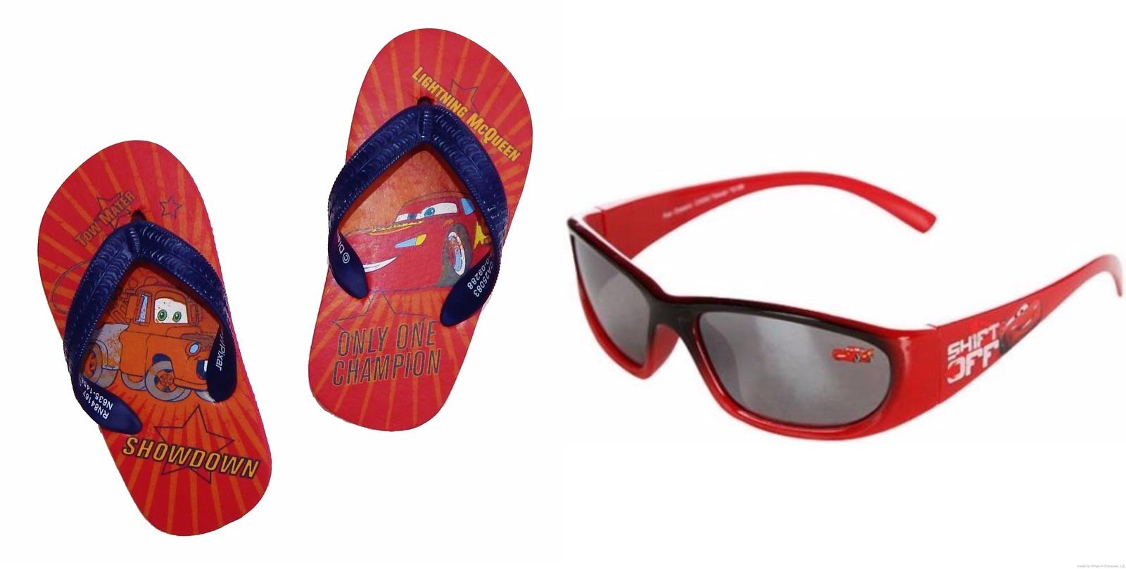 DISNEY CARS Flip Flops w/Optional Sunglasses Beach Sandals Toddler's Size 9/10