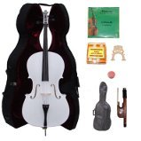 Lucky Gifts 3/4 Size WHITE Cello,Hard Case,Soft Bag,Bow,Strings,Tuner,2 Bridges