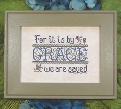 Saved By Grace cross stitch chart My Big Toe Designs - $8.00