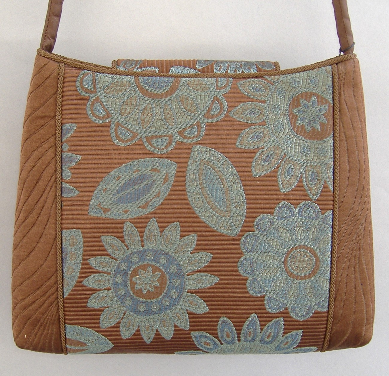 Chocolate Brown Blue Tiny Tote Purse Tapastry Unique Handbag Shoulder Bag image 3