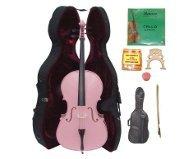 Crystalcello 1/4 Size PINK Cello,Hard Case,Soft Bag,Bow,Strings,Tuner,2 Bridges